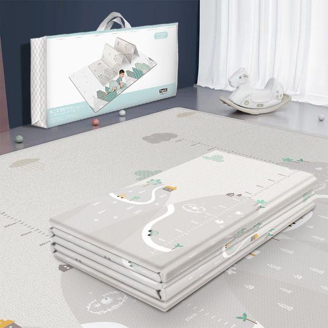 Tapis de jeu pliable réversible imperméable pour bébés, grand Puzzle XPE, tapis de jeu Portable, Double face, pour enfants
