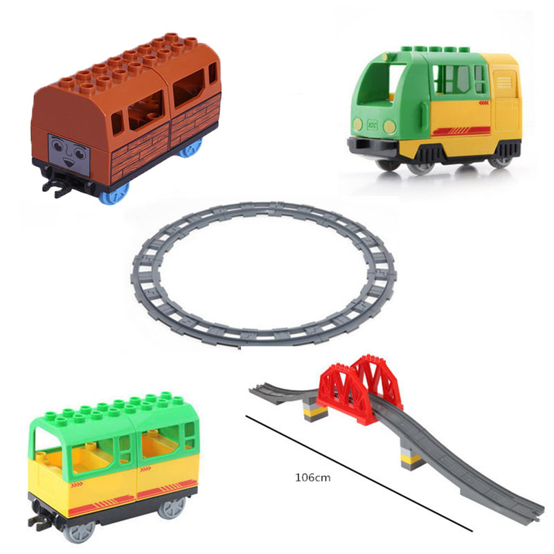 Big Size Diy LegoINGlys Train Building Blocks Railway Track Accessory Viaduct Bridge Parts Kids Duploed Toys Bricks