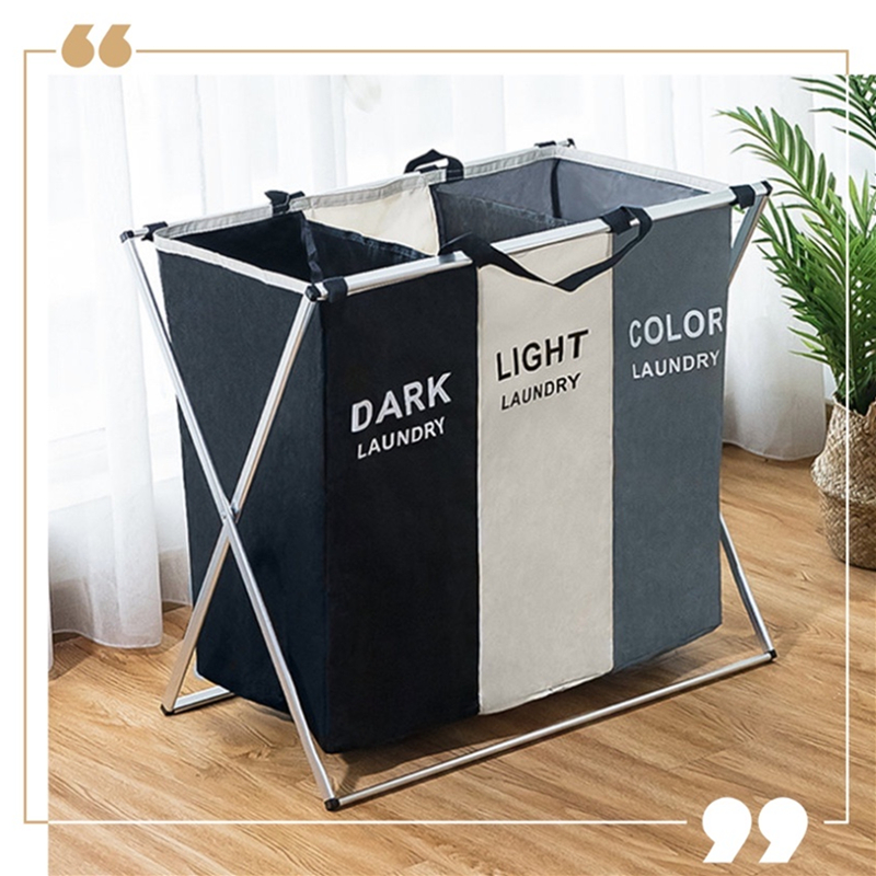X-Shape Foldable Dirty Laundry Basket Printed Collapsible Three Grid Home Laundry Hamper Sorter Laundry Basket Large