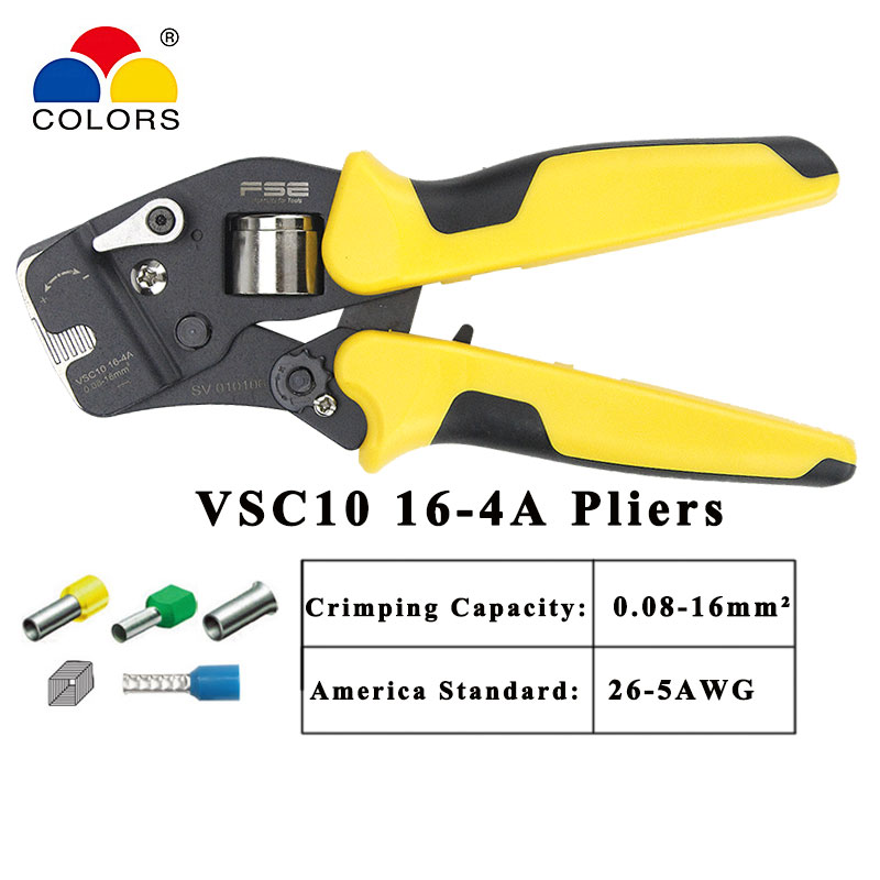 HSC10 16-4A mini-type self-adjustable crimping pliers multi tool Casing type special clamp 0.25-16mm VSC10 16-4a crimping tools(China)