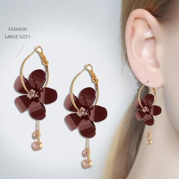 Korean Women Camellia Flower Long Tassel Rhinestone Party Leaverback Earrings 2020 image