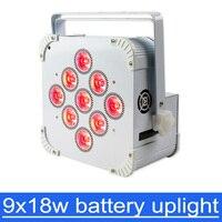 9*18W 6in1 RGBAW UV Battery Operated Wireless LED Flat Par Light DJ Stage Lighting