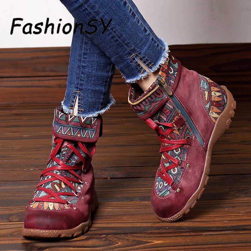 Yeni kış kadın botları Bohemian Retro eğlence nakış dikiş ayak bileği bağcığı botlar rahat bayan düz ayakkabı