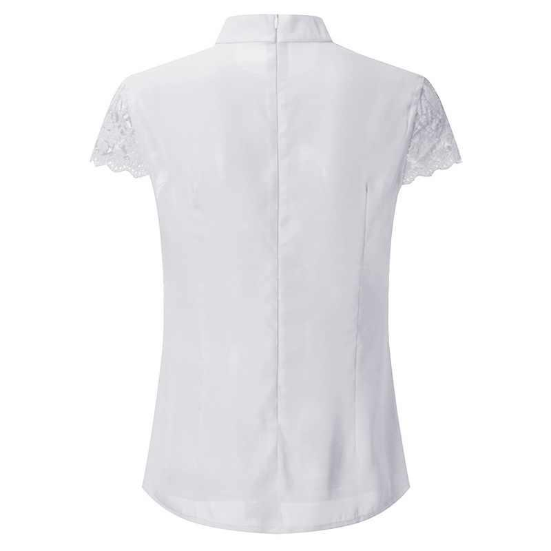 MoneRffi 2019 Sexy dentelle Blouses femmes évider débardeur Femme solide décontracté bureau chemise de grande taille Blusas col en V Streetwear t-shirt