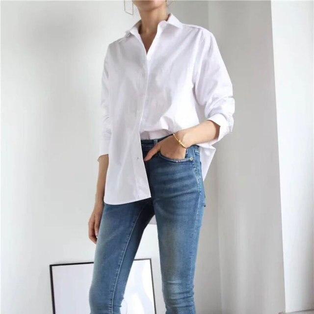 נשים חולצה אביב קיץ פשוט חולצה חדש החבר סגנון קלאסי צללית מוצק חולצות