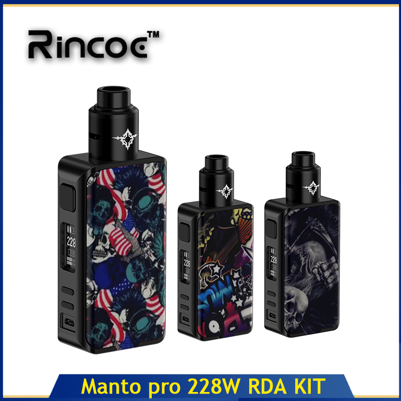 Rincoe Manto pro RDA 228W KIT Cigarette électronique Vaper Mods 24mm diamètre réservoir atomiseur no 18650 batterie e-cigs vaporisateur