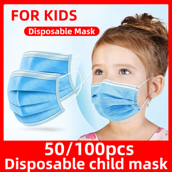 24h Fast Shipping Disposable Child Mask Child Face Mask 50pcs / 100pcs 3-layer Disposable Non-woven Fabric Child Protection Mask
