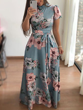 2019 Summer Women Long Maxi Dress Floral Print Boho Style Beach Dress Casual Short Sleeve Bandage Party Dress Vestidos(China)