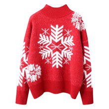 Christmas Sweaters Women Print Sweater Wool Warm Winter Clothes Lights Funny Red Snowflake Pattern Popular Fashion Girl Jumper
