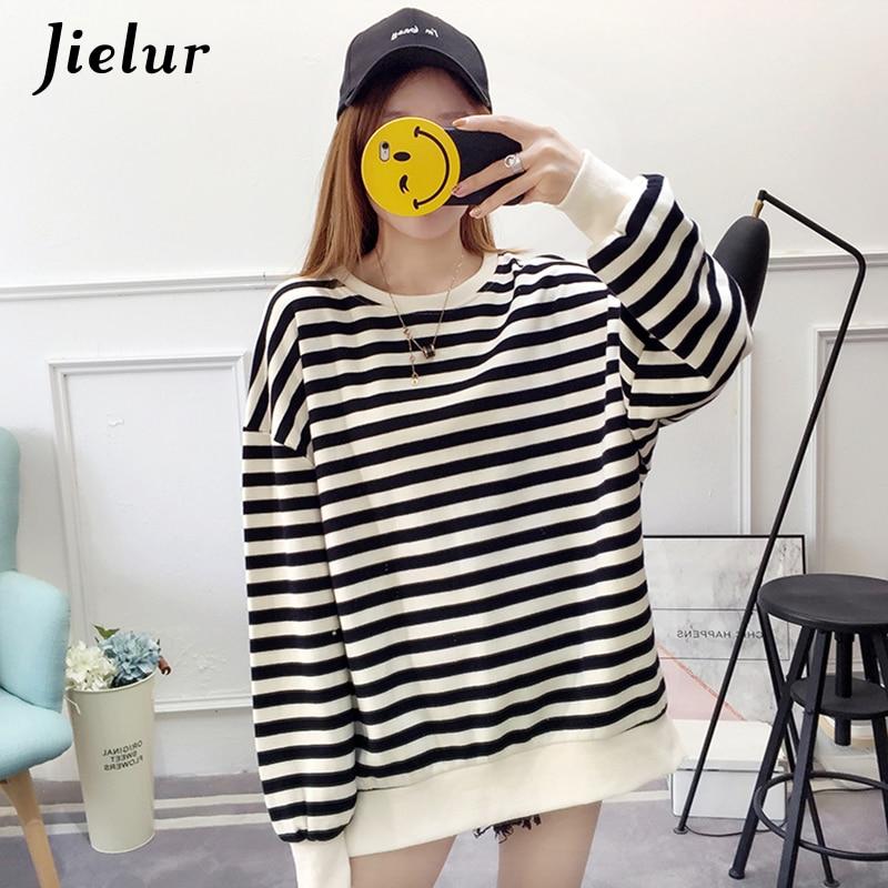 Jielur 2019 Autumn Striped Thin Sweatshirt Women Korean Loose Cute Hoody Patchwork Casual Hoodies Moletom Feminino M-XL Dropship
