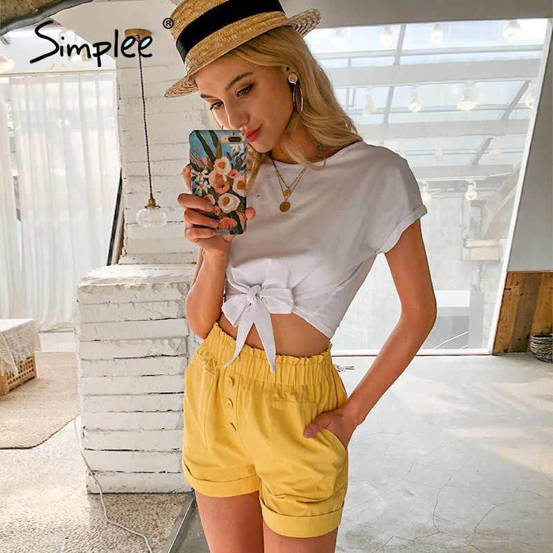 Simplee Casual solide frauen t shirt tops Frühling sommer weibliche baumwolle top shirts Elegante party urlaub damen gebunden weiß t-shirt