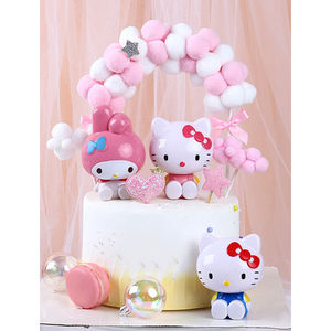 1PC Cartoon Hello Kitty Cake Topper Happy Birthday Party Decoration Cat Plastic Figurine Christmas Ornament Wedding Supplies(China)