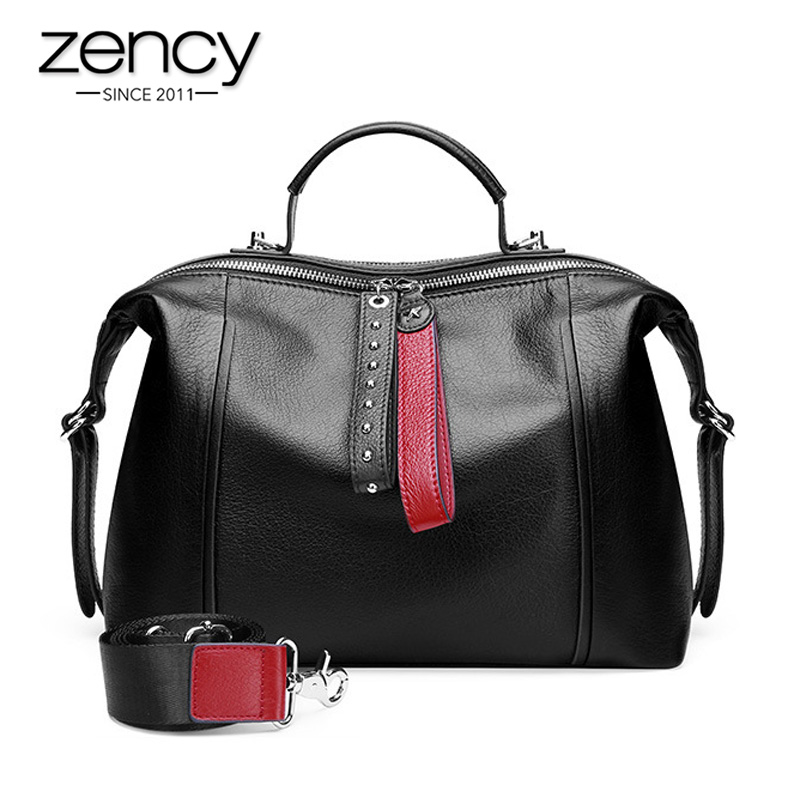 Zency 100% Genuine Leather Classic Black Women Handbag Fashion British Boston Bag Casual Tote Lady Shoulder Messenger Bag Rivets