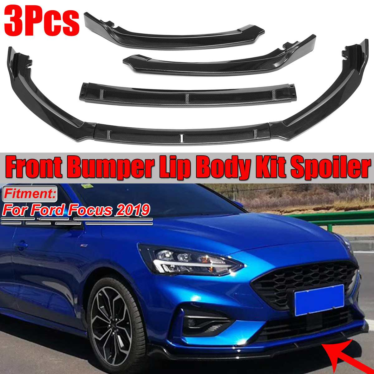 2019 olhar de fibra carbono/preto 3 peça do carro amortecedor dianteiro lábio splitter difusor proteção corpo kit spoiler para ford focus 2019