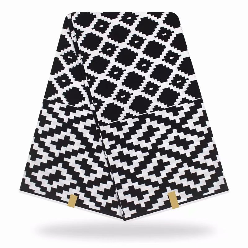 Lasted Black & White African Fabric Real 2020 New Ankara African Wax Print 6 Yards/lot For Women Wedding Dress