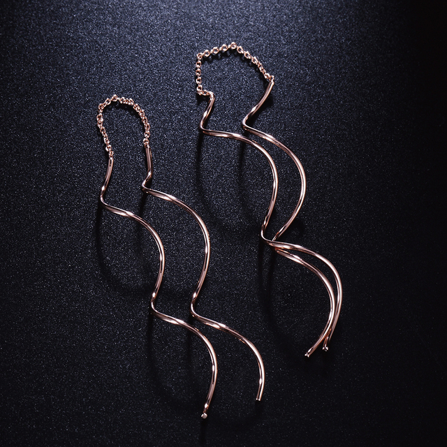 Unique Twisted Bar Long Line Chain Earrings white/Rose Gold Color Fashion Drop/Dangle Earring Jewelry Ear Cuff For Women DFE243 4