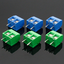 цена на 10PCS/LOT KF301-2P KF301-5.0-2P KF301 Screw 2Pin 5.0mm Straight Pin PCB Screw Terminal Block Connector Blue and green
