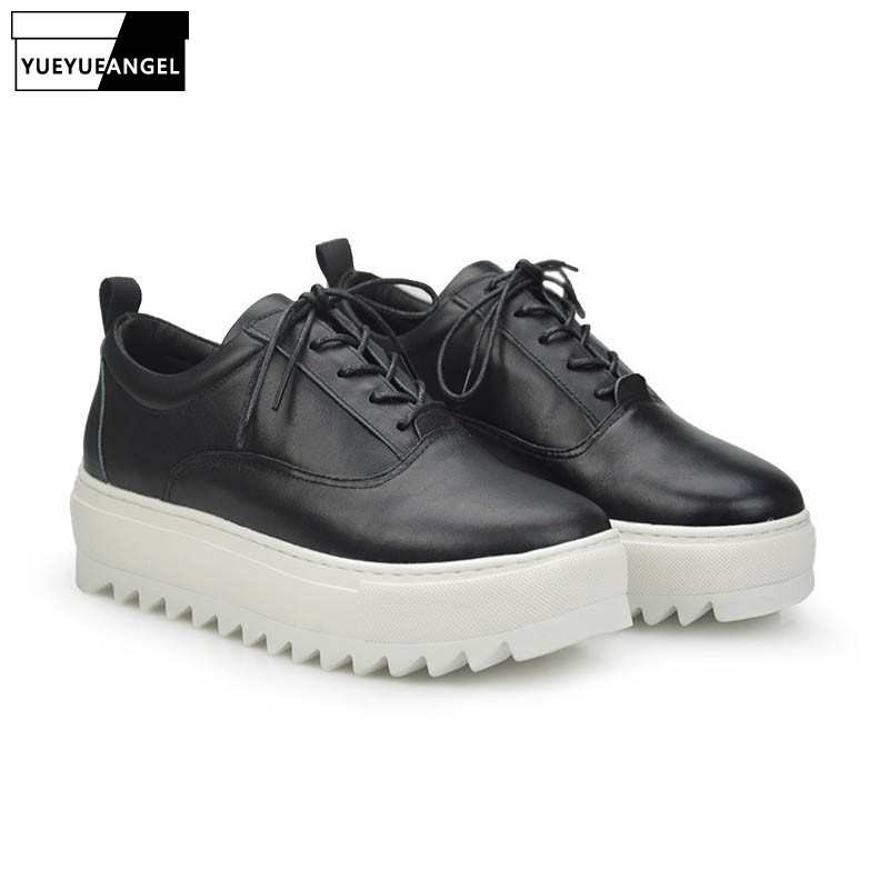 2020 England Style Autumn Punk Fashion Genuine Leather Cow Men Casual Shoes Male Thick Bottom Retro Chaussure Lace Up Plus Size