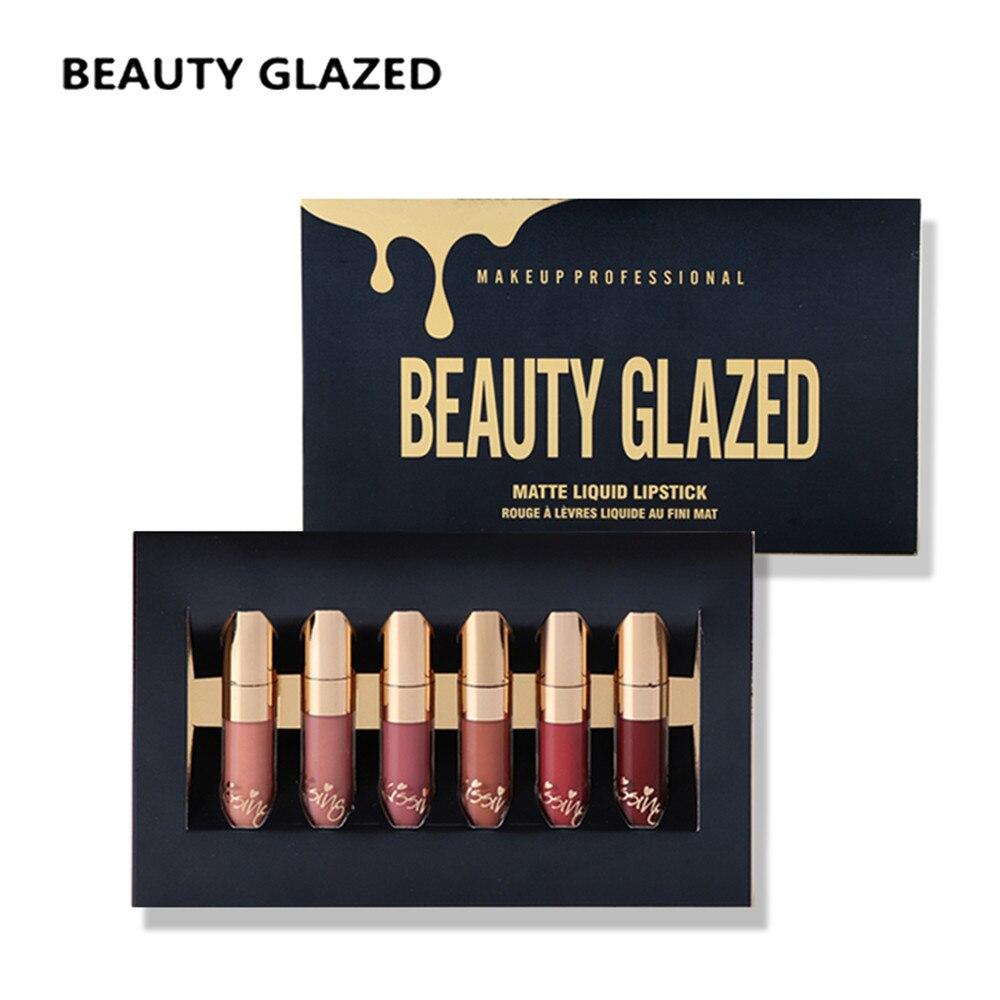 Beleza Vitrificada 6Pcs Fosco Líquido Lipgloss Set Mesmo Como Kyliejenner Edição de Aniversário Batom Lip Gloss Kit fácil de Usar