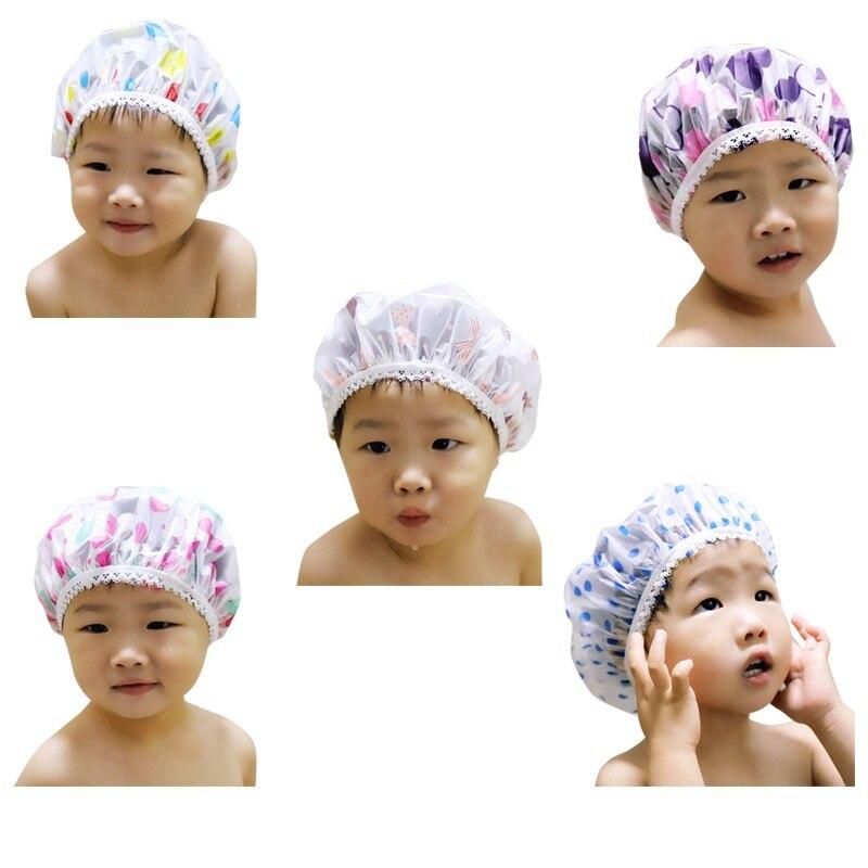 Children Baby Kids Waterproof Shower Cap Elastic Shower Bathing Bath Salon Hair Head Cap Hat Bathroom Products