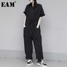 [EAM] Loose Fit Women Black Long Big Size Jumpsuit New High Waist Pocket Stitch