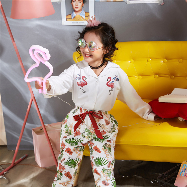 2018 Mother & Daughter Girls' Pajama-Outer Wear Pure Cotton Children Tracksuit Parent And Child Korean-style Cute Fold-down Coll