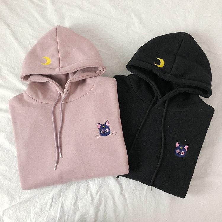 Fannic Embroidered Moon Cat Pink Hoodies Women Kawaii Korean Style Loose Sweatshirt Hooded Pullovers
