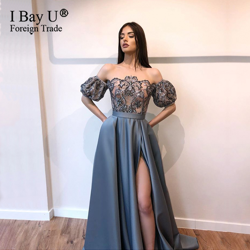 Luxury Lace Evening Dress 2020 Satin Opening Leg Split Puffy Short Sleeves Dusty Grey Formal Dress Long Evening Party Prom Gowns