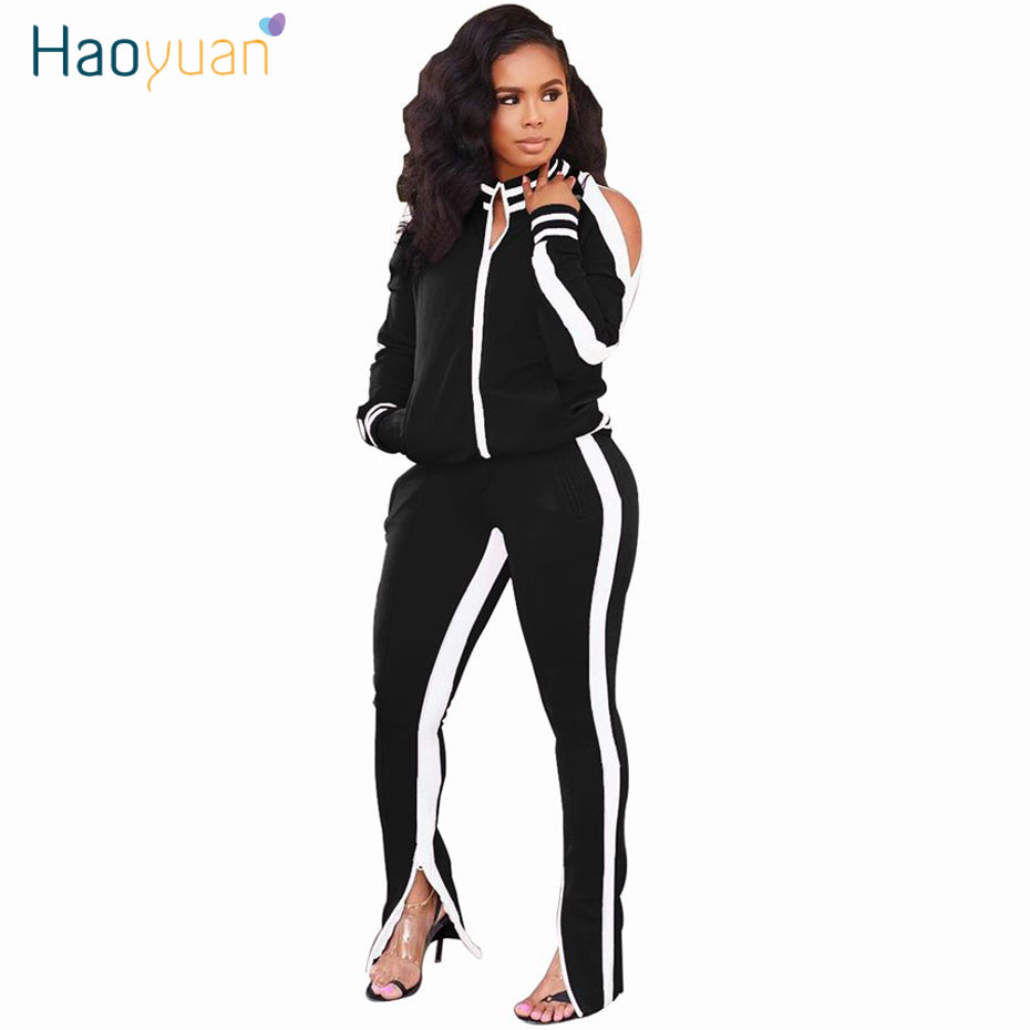HAOYUAN Two Piece Set Women Tracksuit Plus Size Full Sleeve Top And Pant Sweat Suit Fall Clothes Matching Sets 2 Piece Outfits