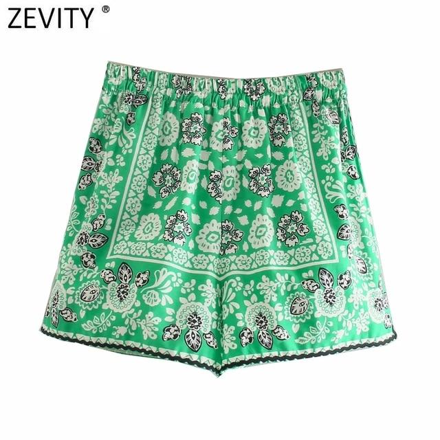 Zevity 2021 Women Vintage Position Flower Print Casual Hot Bermuda Shorts Female Chic Elastic Waist Bow Pantalone Cortos P1140 2