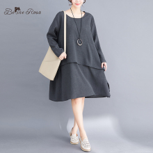 BelineRosa Casual Style Simple Gray Pure Color Loose Long Sleeve Womens Plus Size Dresses YPYC0025