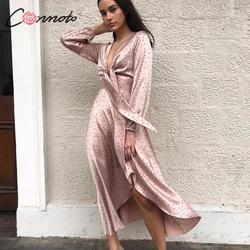 Conmoto Розовое платье в горошек, атласное платье с высокой талией, длинное платье с рукавами-фонариками, осень-зима 2019