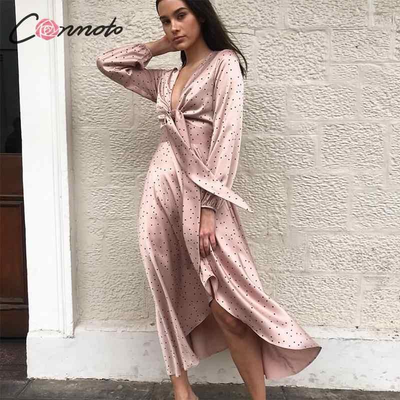 Conmoto Women 2019 Autumn Winter Dress Pink Polka Dot Bow Satin Long Dress Elegant Lantern Long Sleeve Maxi Party Dress Vestidos