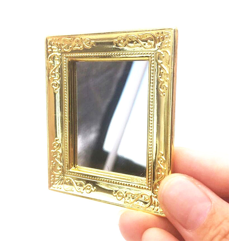 1:12 Dollhouse Miniature Furniture Living Room Table Square Golden Wall Mirror