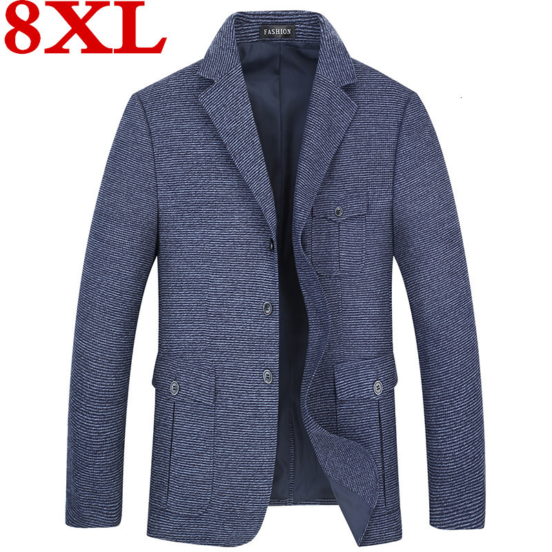 Plus SIZE 8XL 6XL Blazer Jacket For Men Winter And Autumn Men's Casual Plaid Suit Lapel Slim Fit Stylish Suit Coat Lattice Parka