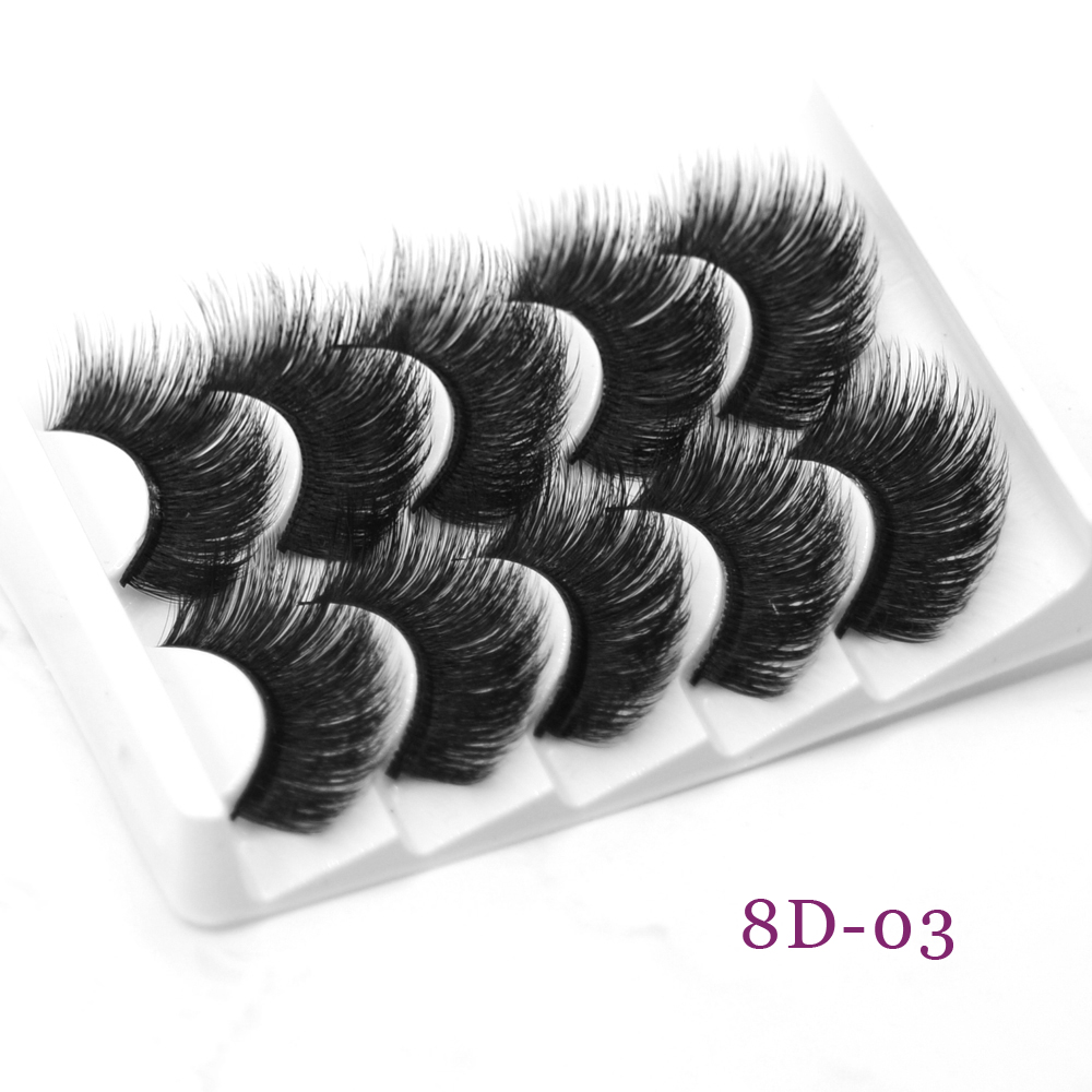 DamePapil 5 Pair 8D Thick Eyelashes Full Strip Hand Made Wholesale Invisiable Fake Eyelashes Faux Mink Wispy/Thick Lashes
