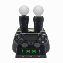 цена на New! 4 in 1 Controller Charging Dock Station for Playstation PS4 PSVR VR Move Charger Stand for PlayStation MOVE Controller