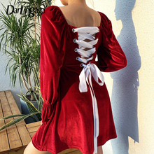 Darlingaga Square Neck Red Velvet Party Dress Women Christmas Bandage Lace Up Winter Dress Patchwork Elegant Dresses Pleated New