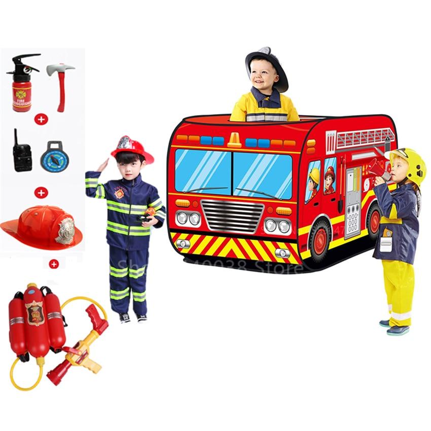 Детский костюм пожарного саму, косплей, Полицейская униформа для мальчиков и девочек, пожарная машина, водяной пистолет, игрушки, набор для ...