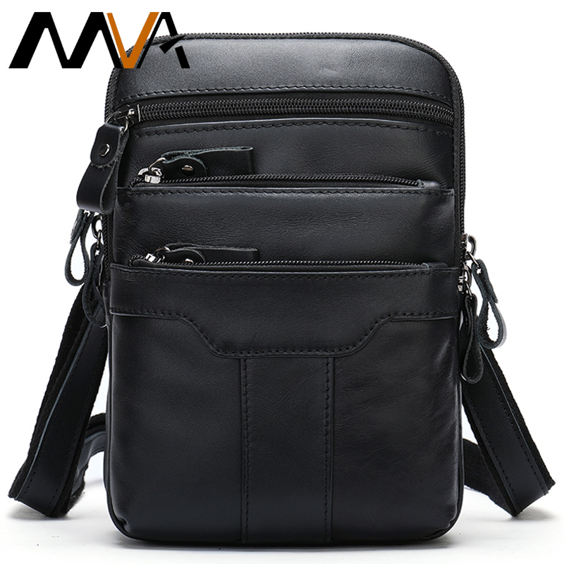 MVA Men's Belt Bag Genuine Leather Waist Bags Male Fanny Pack Leather Waist Pack Male Banana Bag For Phone Men's Waist Bag 8326L
