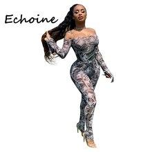 Echoine Slash-neck Jumpsuit Long Sleeve Bodysuit Off Shoulder Slinky Bodycon Rom