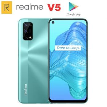 Перейти на Алиэкспресс и купить 2020 Оригинал Realme V5 6GB 128GB Dimensity 720 Смартфон 5G 6,5 дюймов полный дисплей 5000mAh 48MP Quad камеры 30W быстрое зарядное устройство