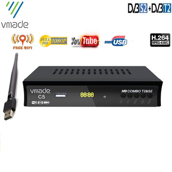 Vmade DVB-T2 DVB-S2 2 in 1 combo hd digital terrestrial satellite receiver support youtube DVB T2 S2 Europe tuner with WIFI BOX