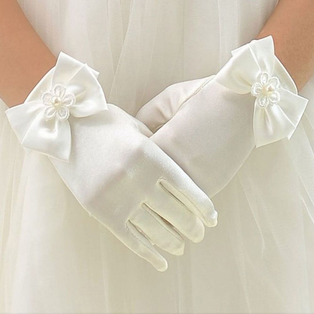 Girls Gloves Long Princess Gloves Girls Gloves Birthday Party Dress Glove With Bow Costume Accessories Satin Children's Gifts