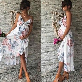 O-neck Long Maternity Dresses for Pregnant Women 1