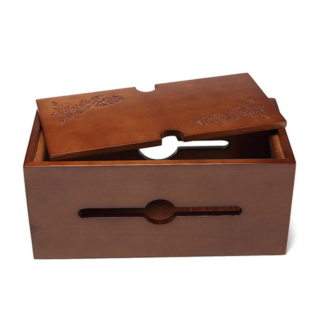 En bois avec couvercle détachable protection ménage prise conseil stockage sculpté fleur bureau puissance câble boîte résistant à la poussière