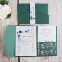 Wedding invitation cards with envelopes personalizzato invites printing blue burgundy green 50pcs