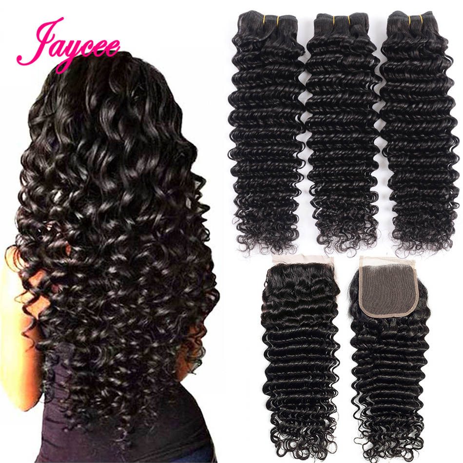 Brazilian Deep Wave Bundles With Closure Human Hair Bundles With Closure Brazillian Hair 3 Bundles With Closure Non Remy Hair