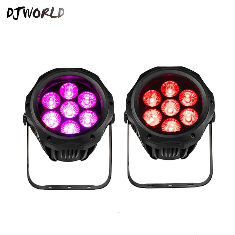 DJworld Waterproof LED Par 7x18W RGBWA UV Outdoor Lights IP65 DMX 512 Good For DJ Open Air Concert Party Ballroom Disco Light