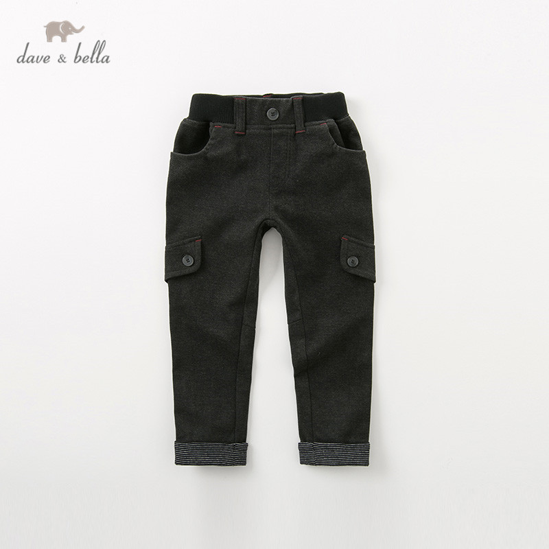 DBK11224 dave bella autumn kids boy fashion solid black pants children full length pants infant toddler trousers